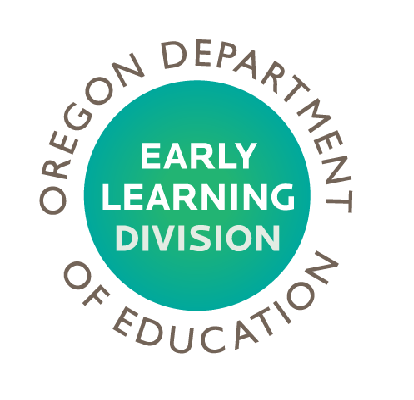A circular logo with Oregon Department of Education written around it, and Early Learning Division written in the center