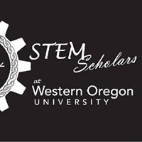 Black square with a white geer on the left and the words STEM Scholars at Western Oregon University