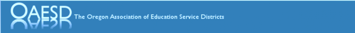 The Oregon Association of Education Service Districts logo is a blue horizontal bar with OAESD and the full name in white letters.