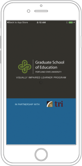 Drawing of a phone with text: Graduate school of Education - visually impaired learning program