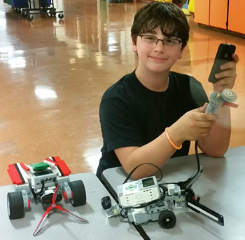 student with STEM project
