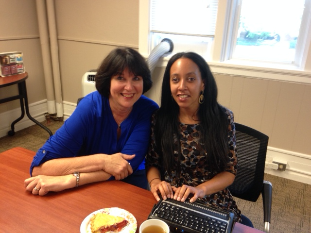 Linda McDowell and Haben Girma meet over pie and tea in the offices of teaching research.