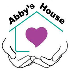 A line drawing of a house resting on hands with a purple heart-shape in the center. Along the top are the words