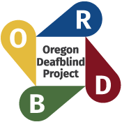 ODB Logo - the letters O-R-D-B surround a center blox which reads Oregon Deafblind Project