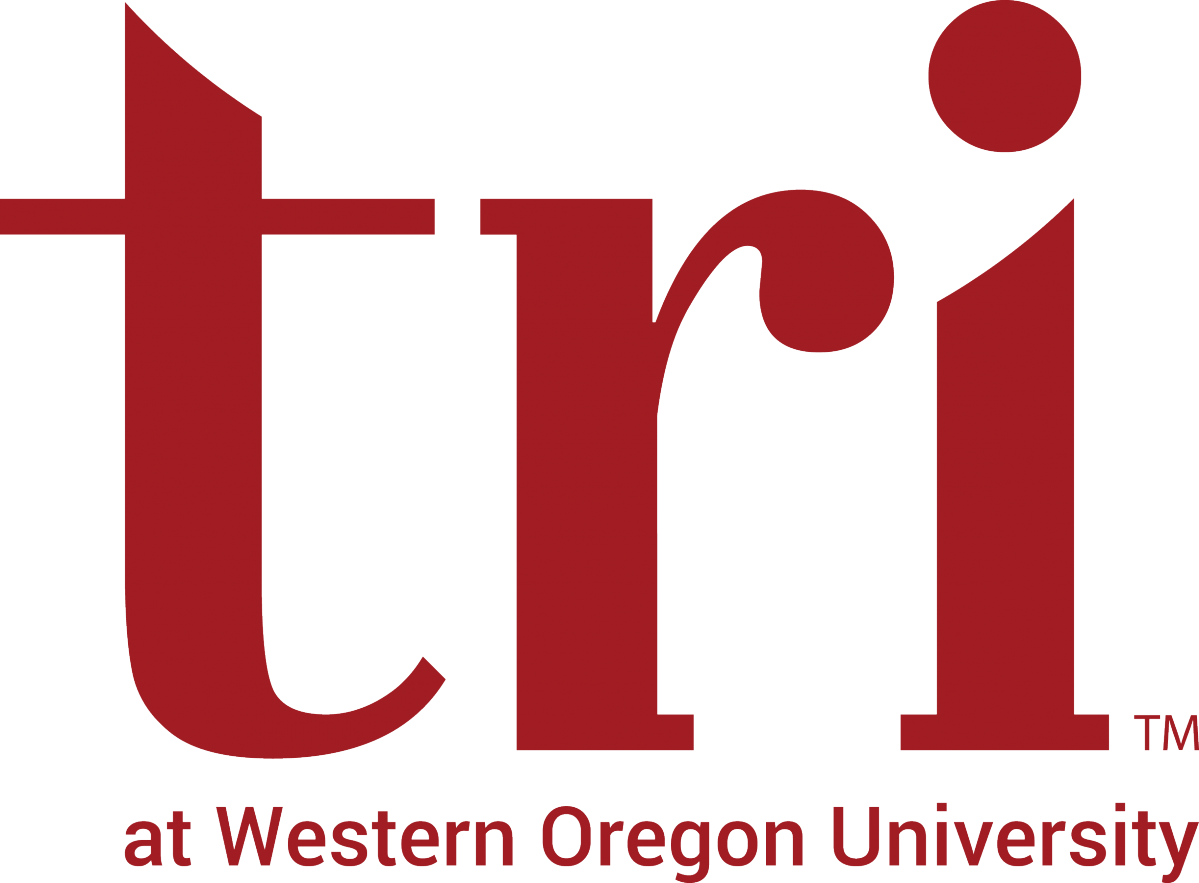 TRI Logo - the letters TRI, lower case in red, with the words at Western Oregon University along the bottom
